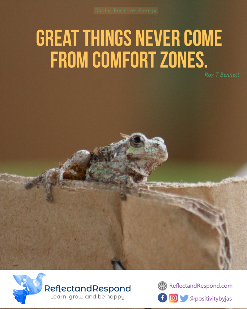leadership quote great things comfort zone