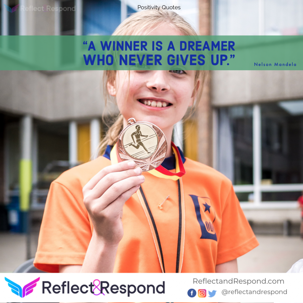 Inspirational quote Winner never gives up