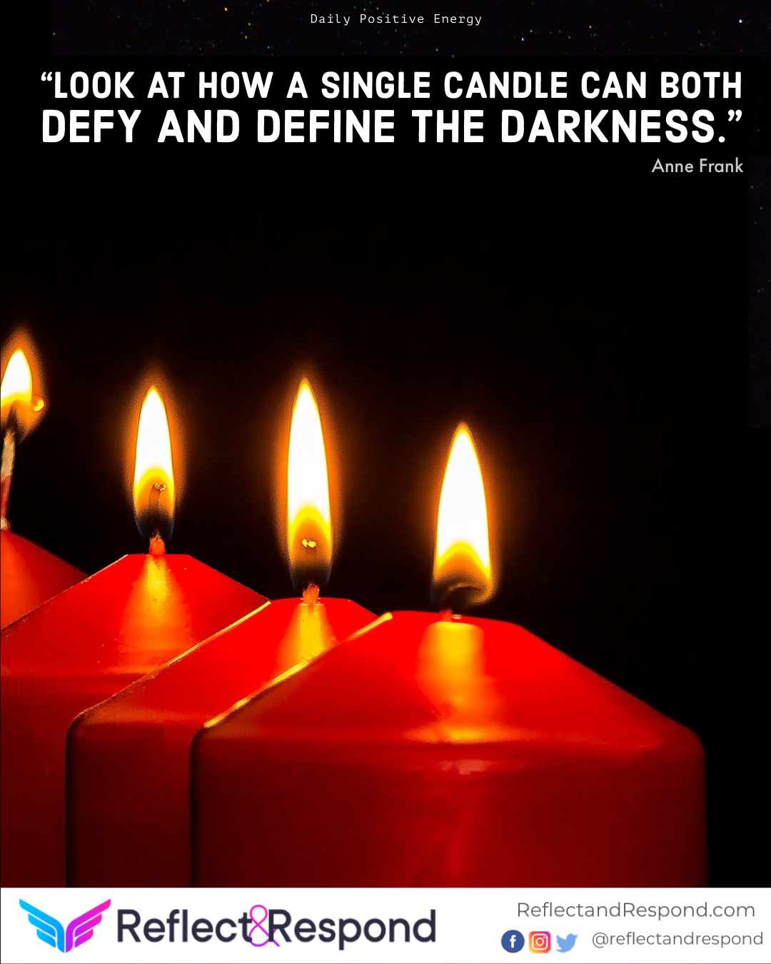 Light darkness candle positive quote