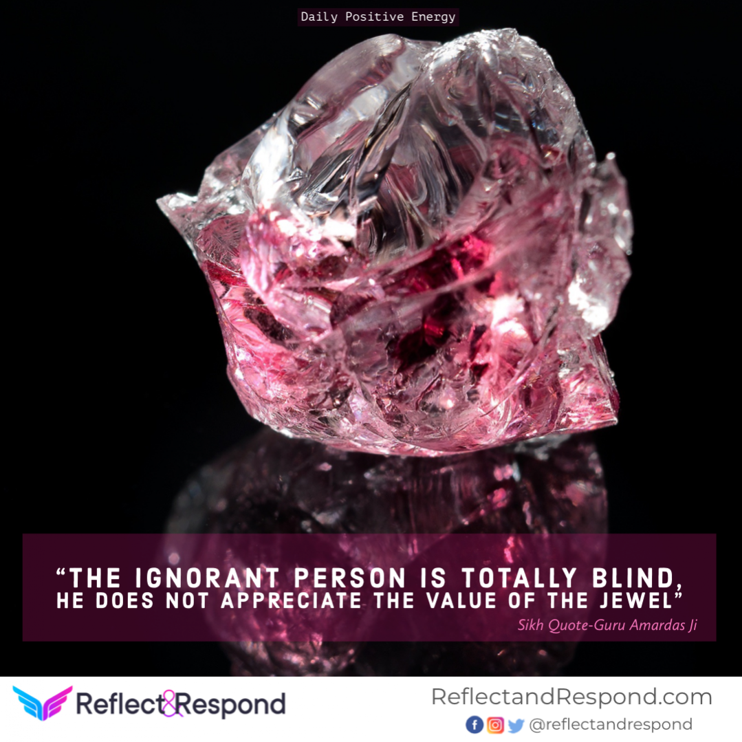 The Ignorant person is totally blind, He does not appreciate the value of the Jewel
