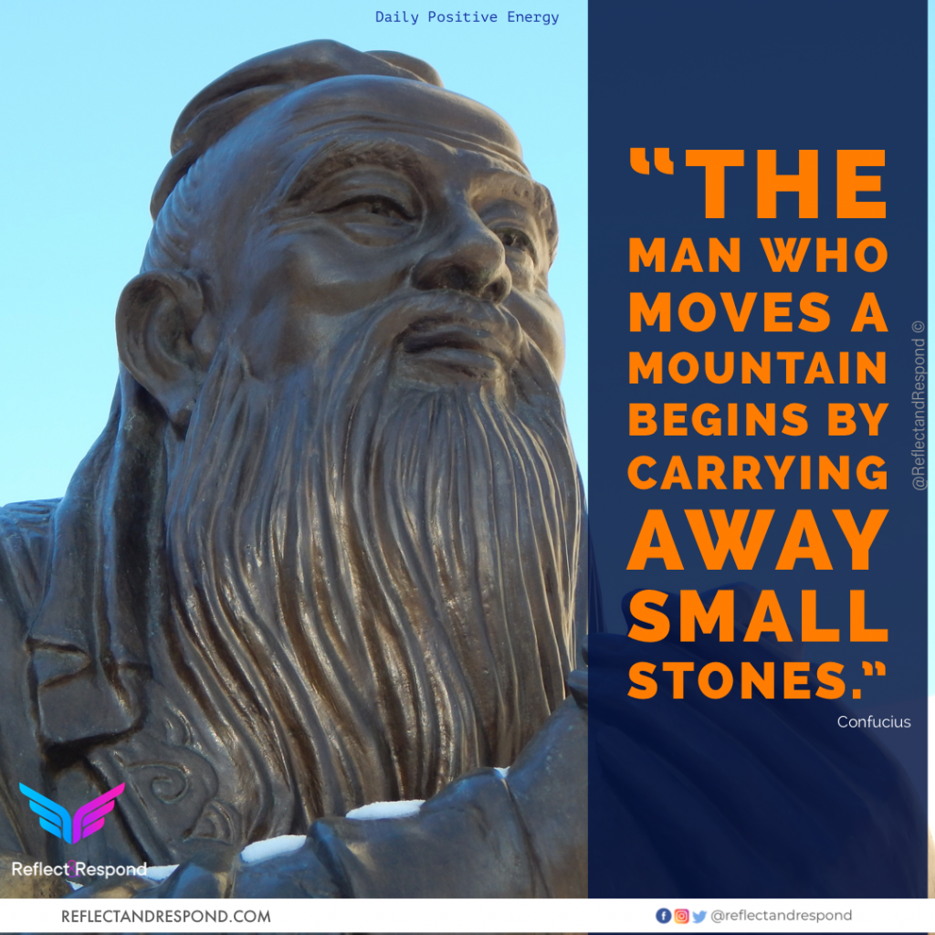 Confucius The man who moves a mountain begins by carrying small stones